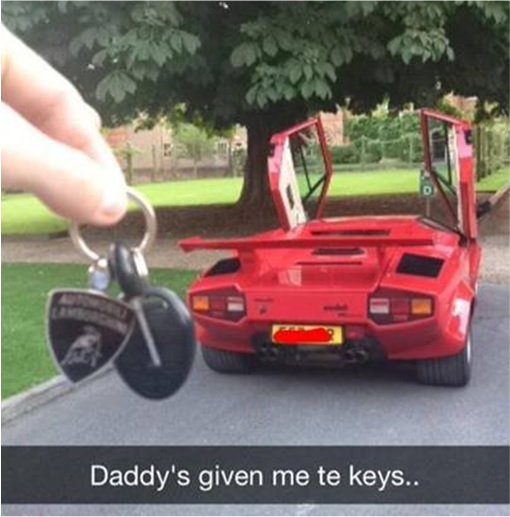 Rich Kids of SnapChat - Daddy gave key to new car