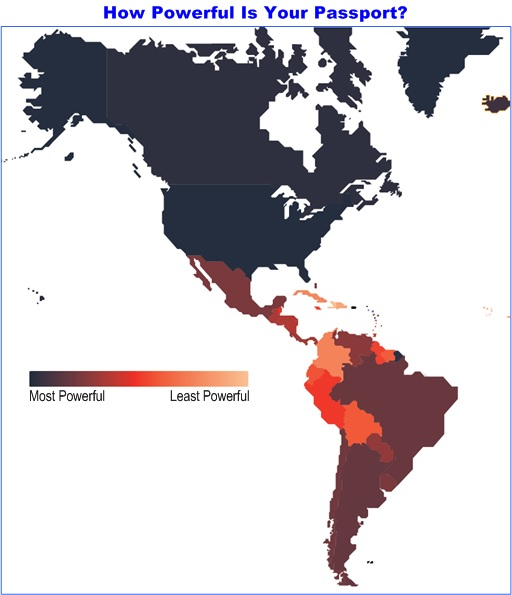 World's Most Powerful Passport - Northen and Southern America