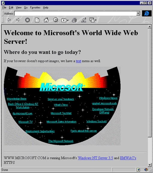1994 - This Was Microsoft's First Web Page