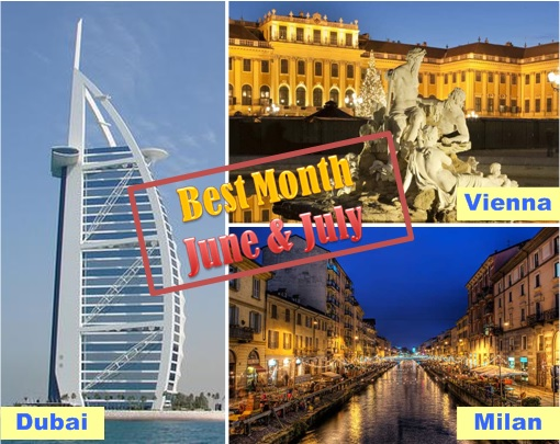Dubai, Vienna and Milan - Best Time Holiday on June and July