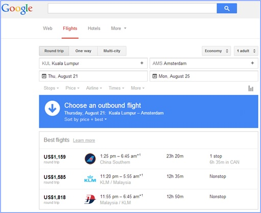 Fabulous and Cool Google Capabilities - Find Flights and Ticket Prices