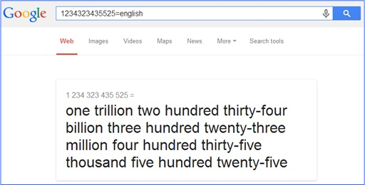 Fabulous and Cool Google Capabilities - Translate Huge Numbers