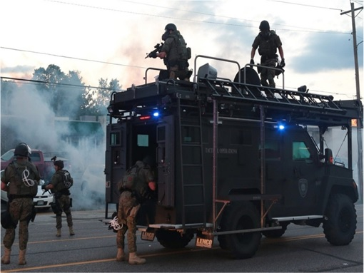 Ferguson Clashes - Ferguson Police Like Military Unit - In Armoured Vehicles 1