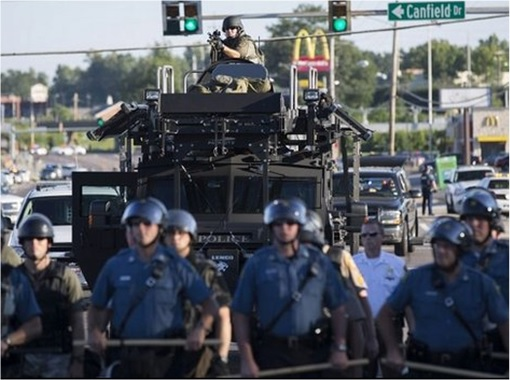 Ferguson Clashes - Ferguson Police Like Military Unit - In Armoured Vehicles 2