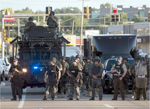 Ferguson Clashes - Ferguson Police Like Military Unit - In Armoured Vehicles 3