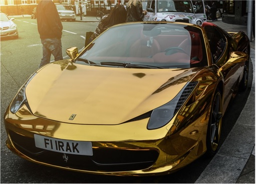 Gold Ferrari 458 Spider FI IRAK- front side view