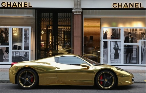 Gold Ferrari 458 Spider Parked In Front Of Chanel London