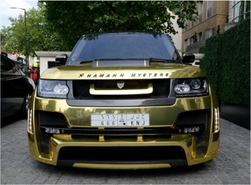 Saudi Arab Gold Range Rover in London - front view