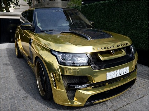 Saudi Arab Gold Range Rover in London - side view right