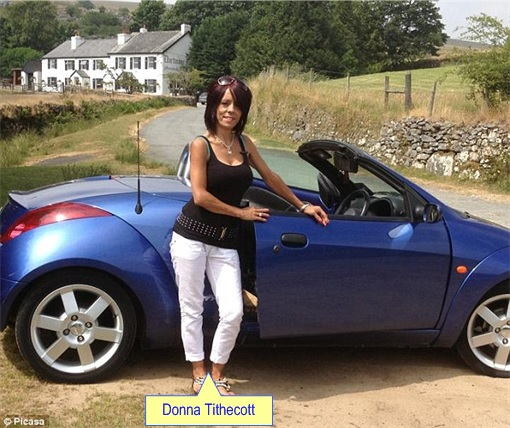 UK Cheating Benefits - Donna Tithecott with covertible Ford