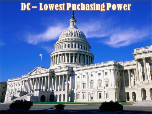 United States - The Relative Value of $100 - DC - Lowest Purchasing Power