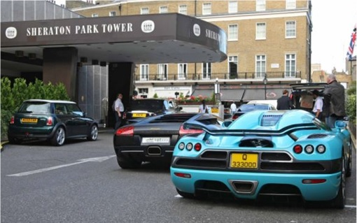 Wealthy Arabs Super Cars at Knightbridge Sheraton Park hotel