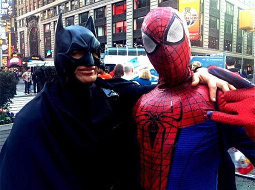 Batman and Spiderman in Times Square