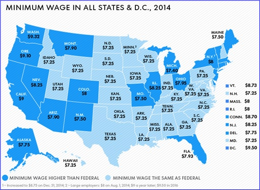 Fast Food Workers Strike - Minimum Wage in all States - Map