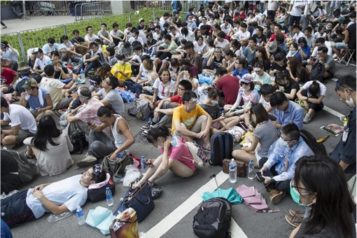 Hong Kong Demonstrations - Protestors Sit-Down