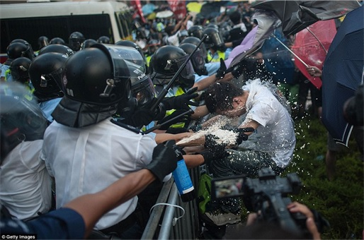 Hong Kong Demonstrations - Protestors pepper sprayed - 2