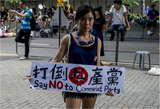 Hong Kong Demonstrations - Woman with sign