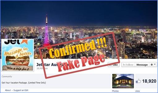 Jetstar Fake Facebook Page
