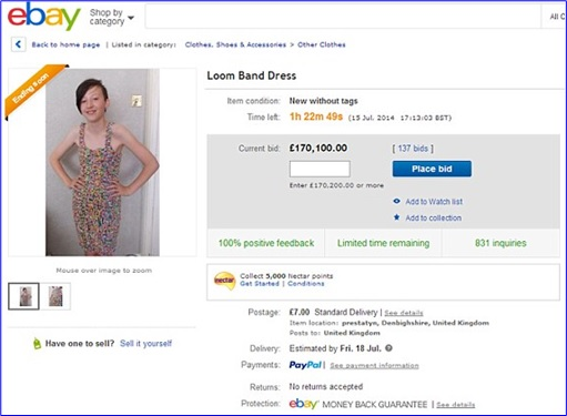 Loom Bands - Rainbow Loom - dress on eBay for £170,000