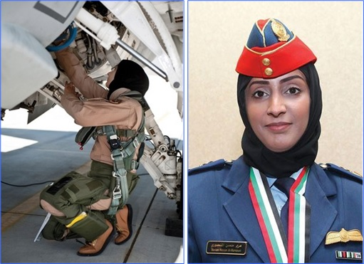 Major Mariam Al Mansouri - checking her fighter jet and receive her medal