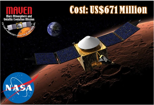 NASA MAVEN - Mars Orbit - US$671 Million