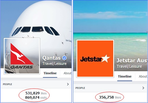 Qantas and Jetstar Real Facebook Page - Number of Likes