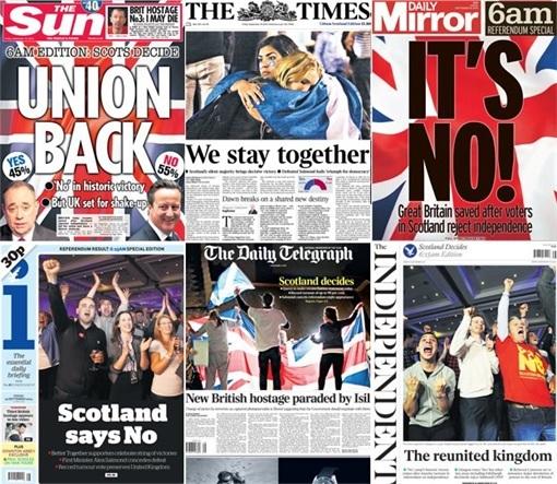 Scottish Referendum Results - 55 percent No 45 percent Yes