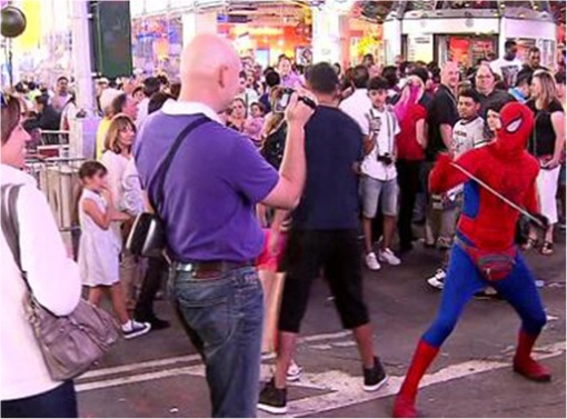 Spiderman and Batman Fight at Times Square New York - Fighting With Men - 2