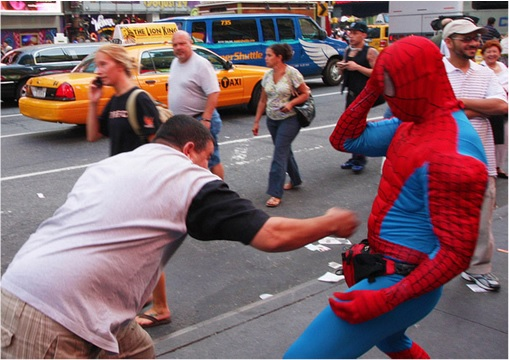 Spiderman and Batman Fight at Times Square New York - Fighting With Men