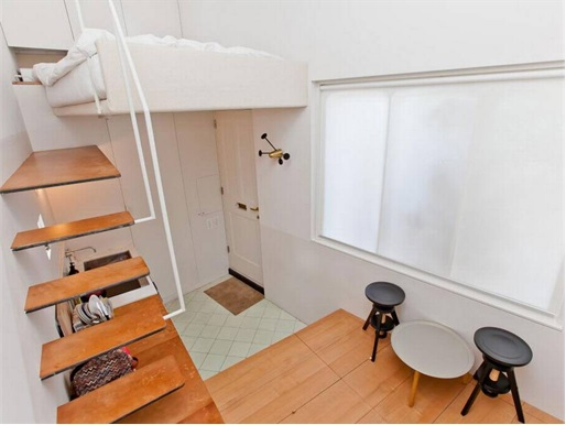 UK Smallest Tiniest House - stairs to climb to bed