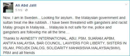 Ali Abdul Jalil Facebook Status After Fled to Sweden