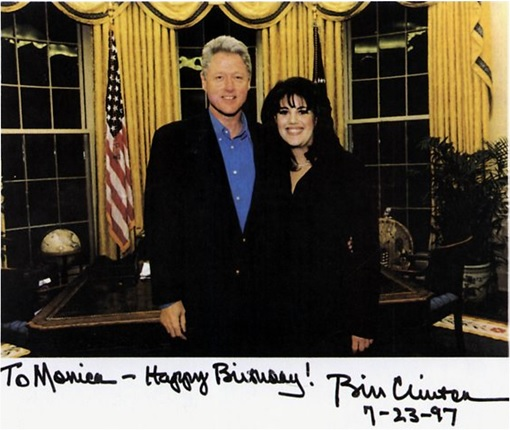 Bill Clinton and Monica Lewinsky - Old Photo - Birthday Wish to Monica