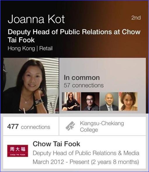 Chow Tai Fook - Deputy Head of Public Relations Joanna Kot