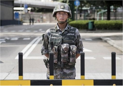 Hong Kong Demonstrations - China Army Standing Guard