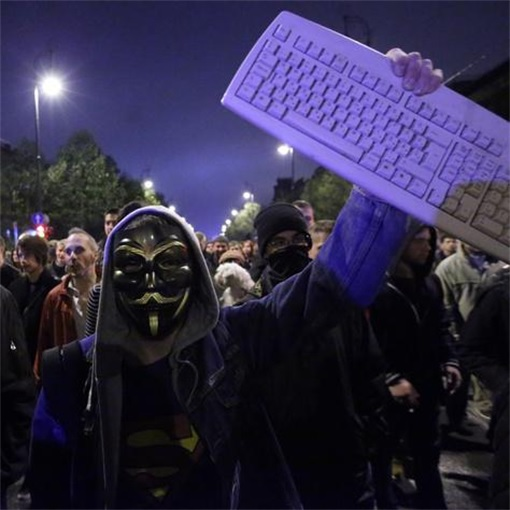 Hungary Internet Tax Protest - Anonymous with Keyboard