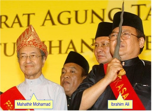 Ibrahim Ali with Mahathir Mohamad - Bibles Burning