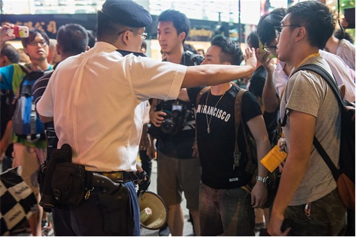 Journalists seemed to be upset that the police were protecting the troublemakers who suddenly attacks the protesters