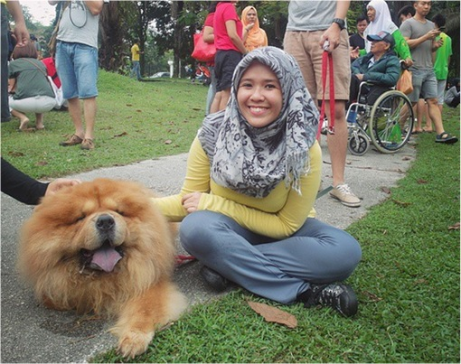 Malaysia I Want To Touch A Dog Event - Muslim Girl Happily Touching A Dog - 2