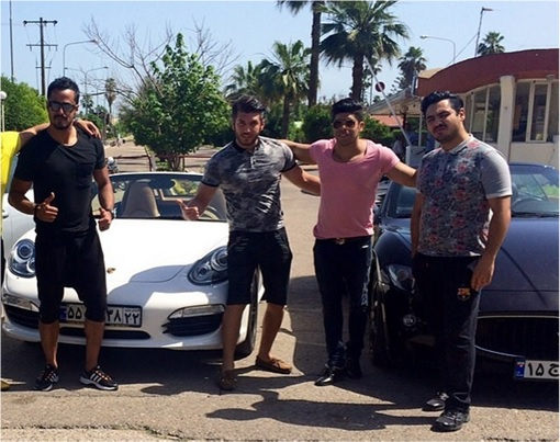 Rich Kids Of Tehran - Guys Posing with Sport Car