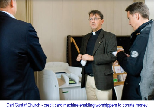 Sweden Cashless Country - Carl Gustaf Church - credit card machine enabling worshippers to donate money