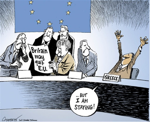 Britain May Quit EU But Greece Stays - Cartoon