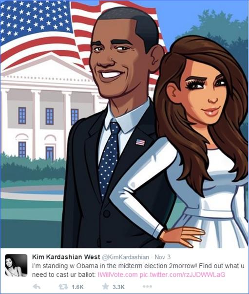 Kim Kardashian - Standing With President Obama in Election - Cartoon Tweet