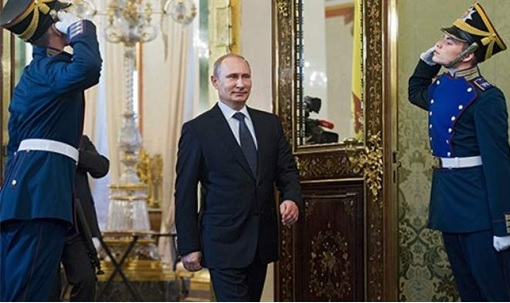 Putin Receives Salute by Russian Guards