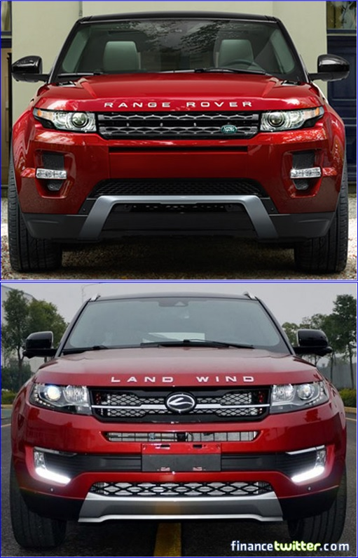 Range Rover Evoque and Land Wind - Front View Comparison