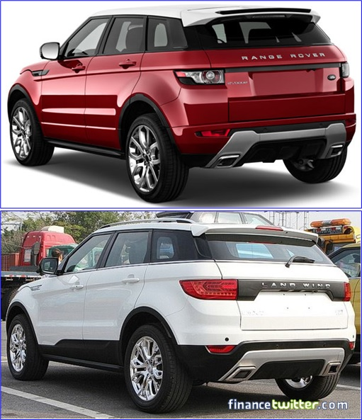 Range Rover Evoque and Land Wind - Rear View 30-degree Comparison