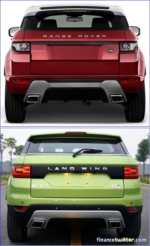Range Rover Evoque and Land Wind - Rear View Comparison
