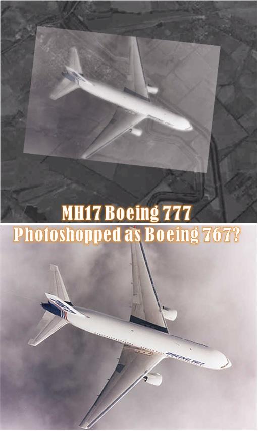 Russia Fake Photoshop Satellite Image - MH17 Boeing 777 Mistaken as 767