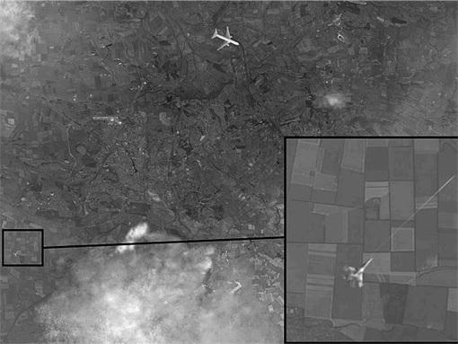Russia Fake Photoshop Satellite Image - Ukraine Jetfighter Shot MH17
