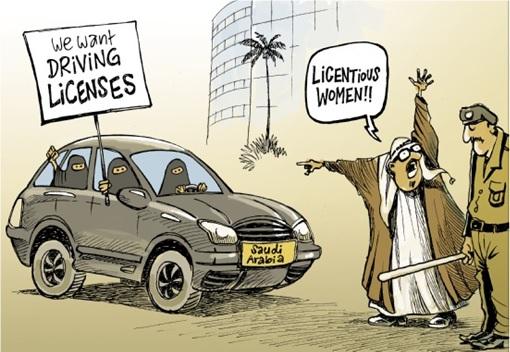 Saudi Arabia Women Drivers - Cartoon