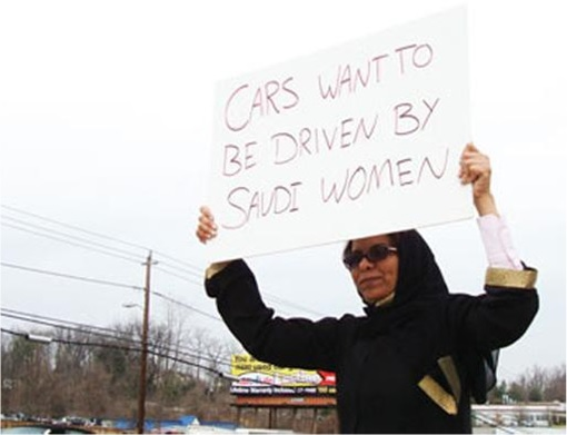 Saudi Arabia Women Drivers - Protester with Signboard